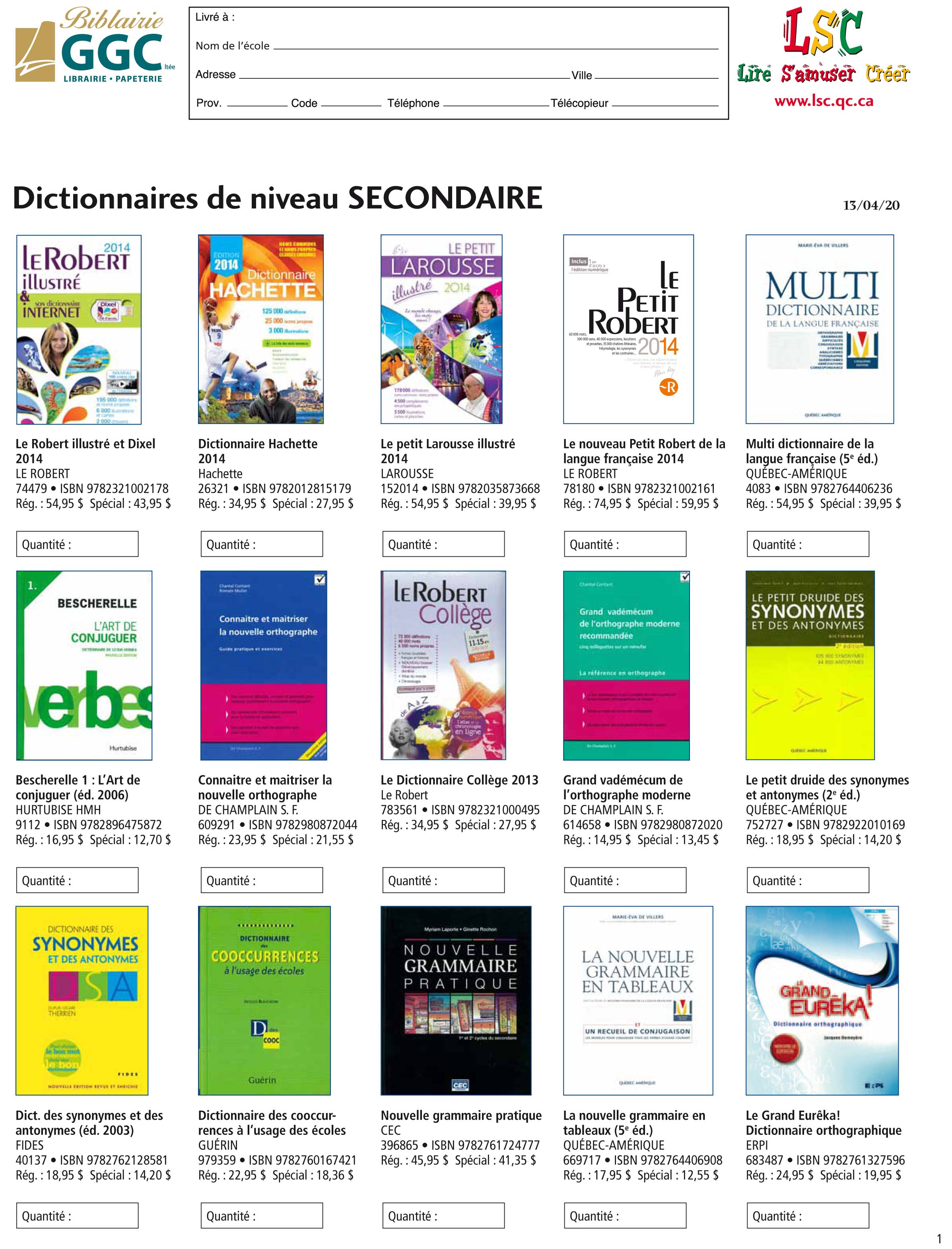 Dictionnaire secondaire